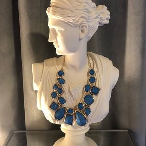 T & J Designs Large Blue Gem Necklace